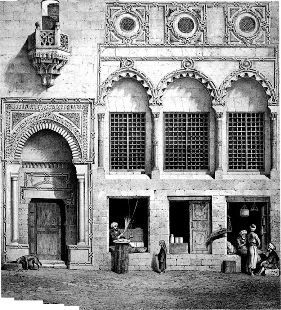Zamyat Abd al-Rahman Katfchuda, 18th century. In 1729. Abd al-Rahman Katkhuda built a zawiya— housing for Sufis—on two levels above a few shops. This was but one of his contributions to Cairo's cityscape. Prisse draws parallels between its decoration and that of European Renaissance styles.