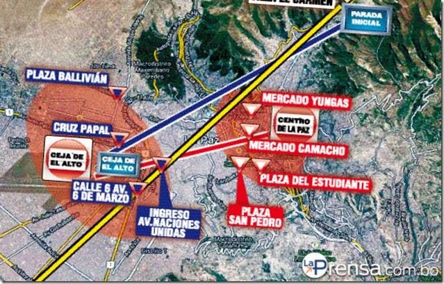 Tarifas del transporte entre La Paz y el Alto