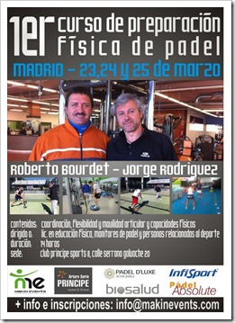 Curso de Preparación Física de Pádel (Bourdet & Rodríguez) del 23-25 de marzo en Madrid.