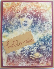 rainbow ink woman with hello friend card
