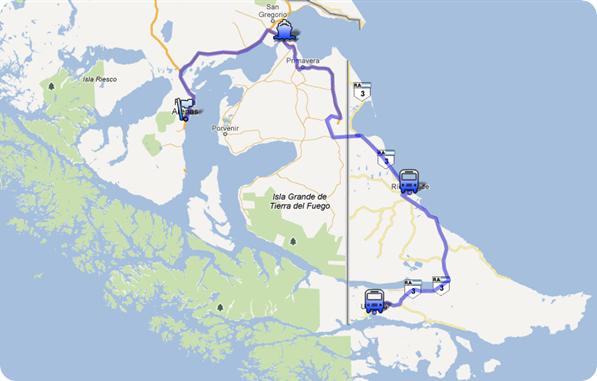 Rota entre Ushuaia a Punta Arenas