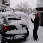 removing more snow from my car in Seefeld, Tirol, Austria