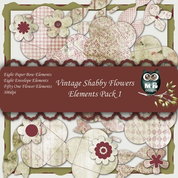 Vintage Shabby Flowers Elements Front Sheet Pack 1