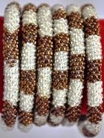 rollover bracelet brown white