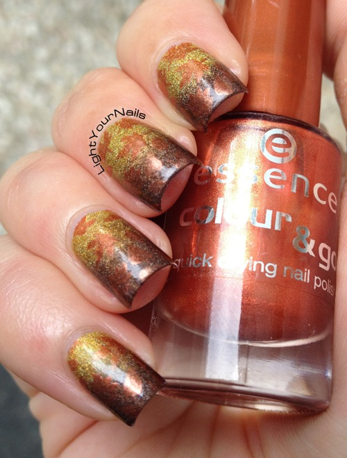 Holographic Fall gradient leaves stamping