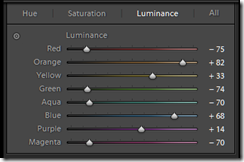 enhancing comtrasting colours and supressing the others in lightroom