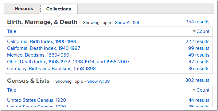 FamilySearch historic record search results by category and collection