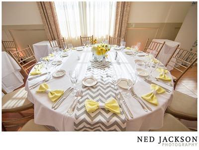 white, yellow and gray chevron wedding