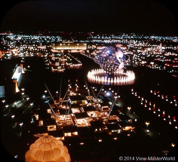 View-Master New York World's Fair 1964-1965 (A671),Scene 21 Federal and State Area at Night
