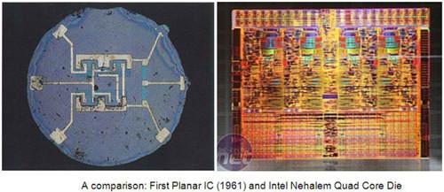 VLSI_first_integrated_circuit_IC_compared_with_nehalem_quard_core_die