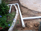 Solid drain line with clean out catch basins.