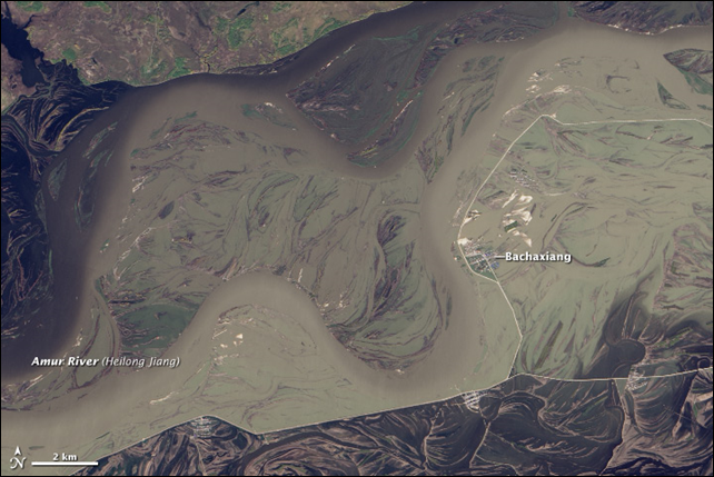 The Landsat 8 satellite acquired this image on 27 September 2013. The Amur River, swollen by record rainfall, has swallowed up the Chinese town of Bachaxiang, having overcome the straight white levee that stands between the town and the river's usual channels. Photo: Jesse Allen and Robert Simmon, using Landsat data from the USGS