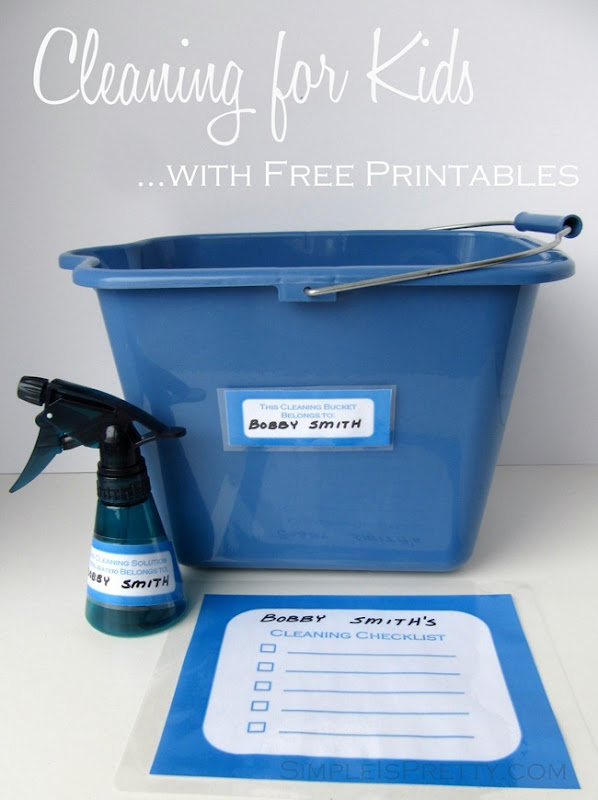 Cleaning for Kids Bucket and Printables