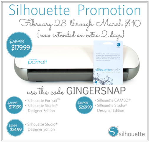 #silhouette use code GINGERSNAP