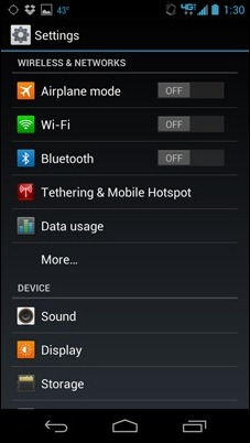 RAZR MAXX settings menu