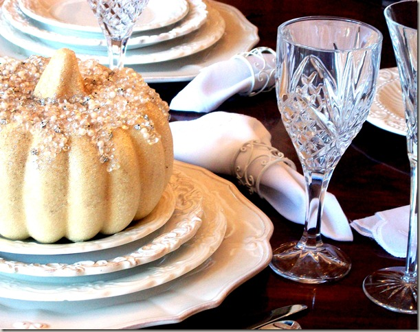 Alex photos &amp; Bling White Pumpkin Tablescape 1606