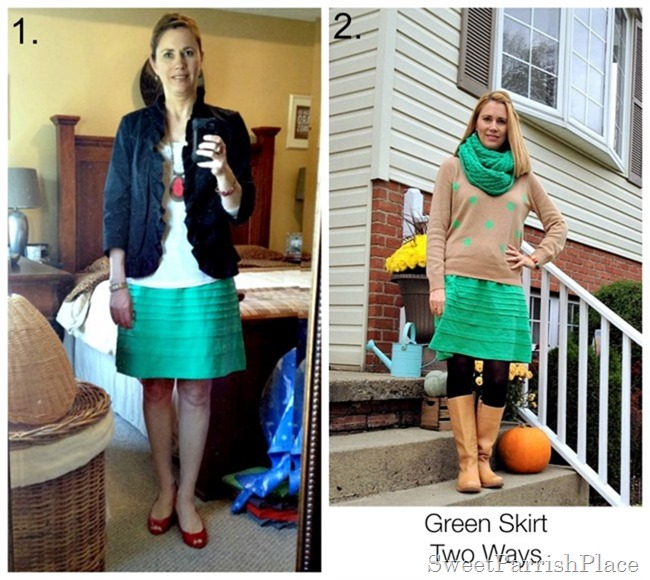 green skirt two ways