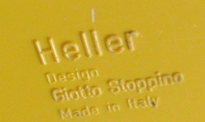 Yellow Deda vase by Giotto Stoppino for Heller imprint