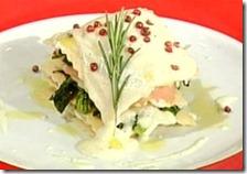 Lasagnetta al salmone affumicato con caprino e spinaci