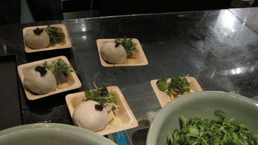Here are Chef Joanthan Wright's steamed buns stuffed with veal cheek and foie gras.