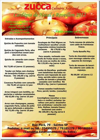Cardápio de Natal e Rev 2012