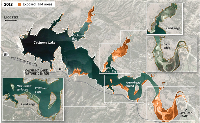 Cachuma Lake, the source of drinking water for 200,000 people on the southern coast of Santa Barbara County, California, is disappearing. In the past, rain would always come to the rescue. But that's not on the horizon now. This map shows land areas exposed in 2013 by California's record drought. Graphic: Los Angeles Times