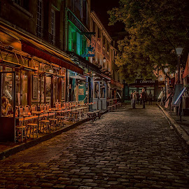 by Sheldon Anderson - City,  Street & Park  Street Scenes ( paris, night photography, montmartre, artistic, cafe, night, street scene,  )