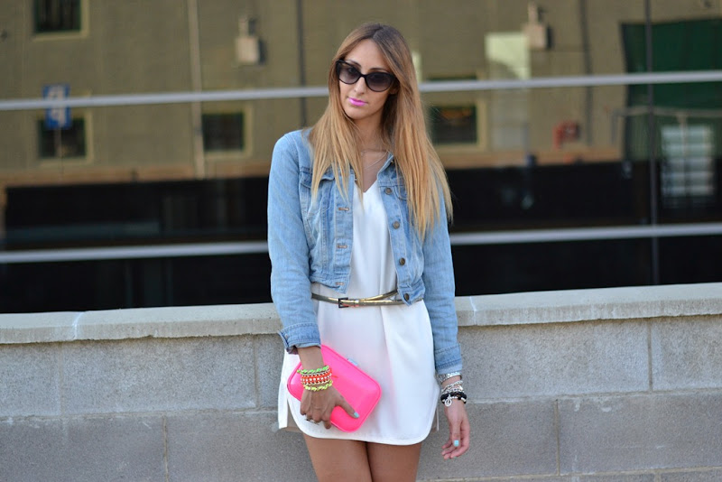 Christian Dior Zeli sunglasses, Zara white dress, Denim jacket, Oasap.com jacket, Zara dress, Zara white dress