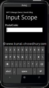 WP7.1 Demo - InputScope (PostalCode)