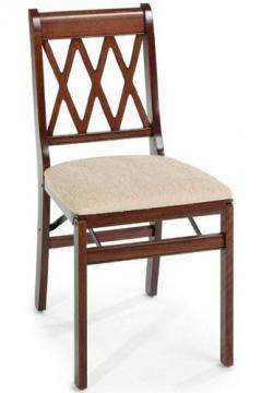 Yes, this is a folding chair! It looks like it could be part of a dining room set. From homedecorators.com -- a Cherry Lattice Folding Chair.