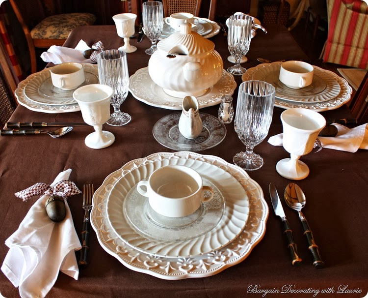 Bargain Decorating with Laurie-Brown and white tablescape