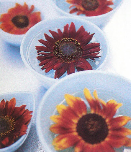 Bright sunflower faces peer up from individual Fire King mixing bowls. (The Best of Martha Stewart Living -- Arranging Flowers)