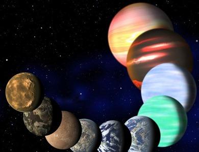ilustração com diferentes tipos de planetas na Via Láctea