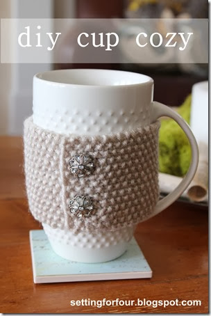 How to make a DIY Cup Cozy from Setting for Four. #diy #gift #cup #cozy