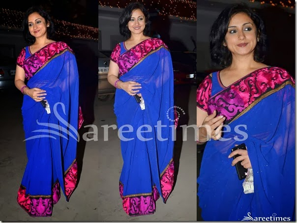 Tisca_Chopra_Blue_Georgette_Saree