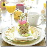 Easter tablescape with peeps baskets