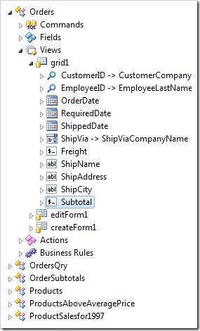Subtotal data field node has been created in 'grid1'.