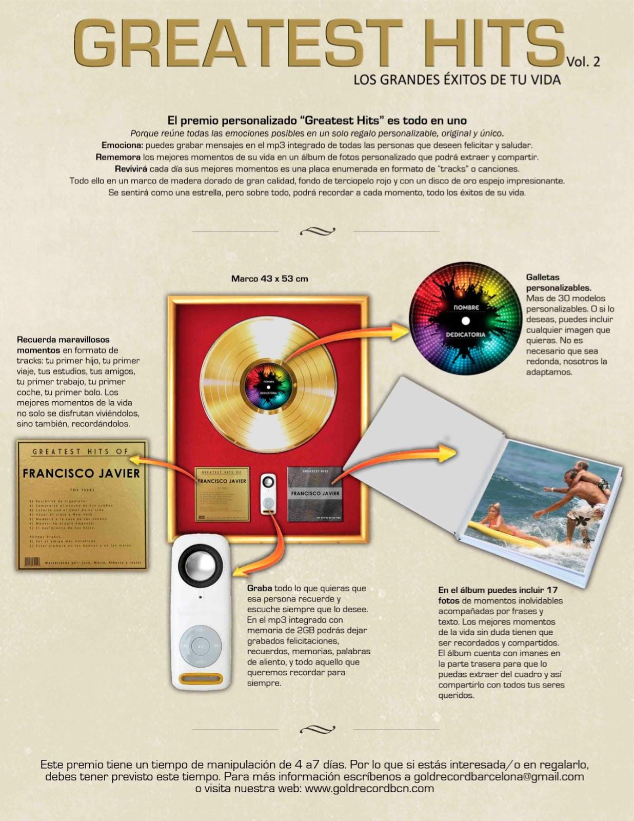 Discos de Oro y platino. Premios, galardones, awards, regalos ...