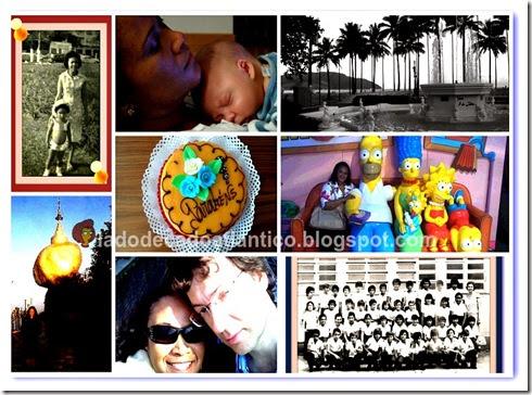 Colagem de imagens minhas desde a infância até atualmente.