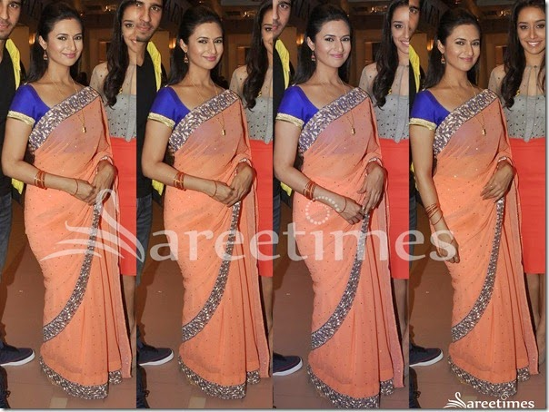 Peach_Embroidery_Net_Saree