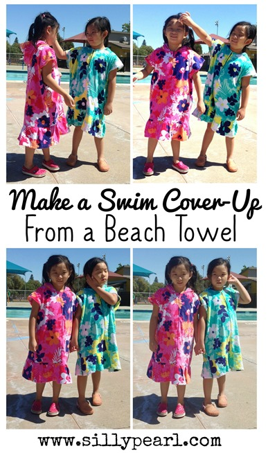 Make a Kids Swim Cover-Up From A Beach Towel - #Sewing #Tutorial by The Silly Pearl