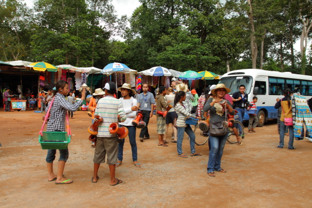 Hawkers of Angkor selling all kinds of souvenirs to tourists