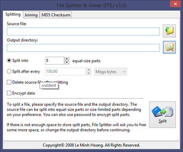 Free Fast File Splitter and Joiner