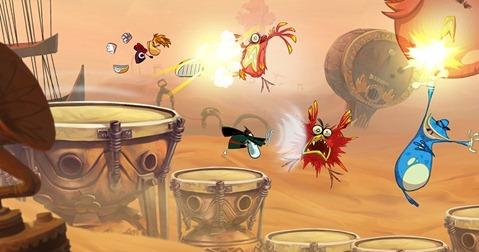Tocando tambor, dançando e chutando os inimigos.