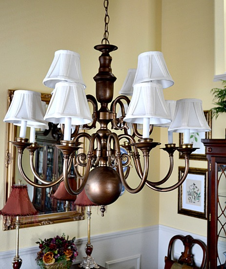 Brass chandeliers makeover at the picket fence 014 aloadofball Image collections