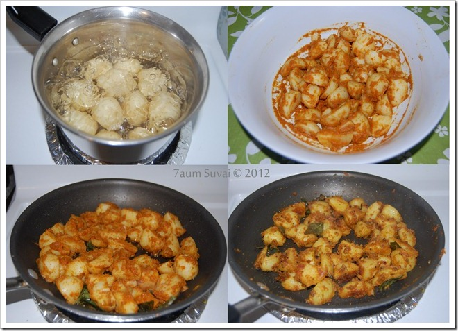 Baby potato stir-fry Process