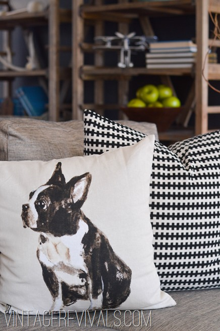 Pottery Barn Dog Pillow @ Vintage Revivals