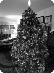 Our Christmas Decorations bw tree