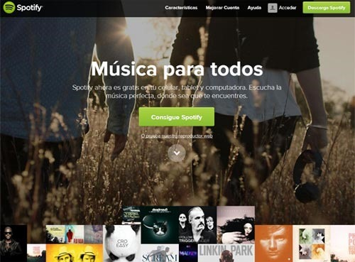 Widget Spotify para blog - Pantalla inicial de Spotify