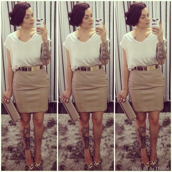 look saia de couro e blusa branca